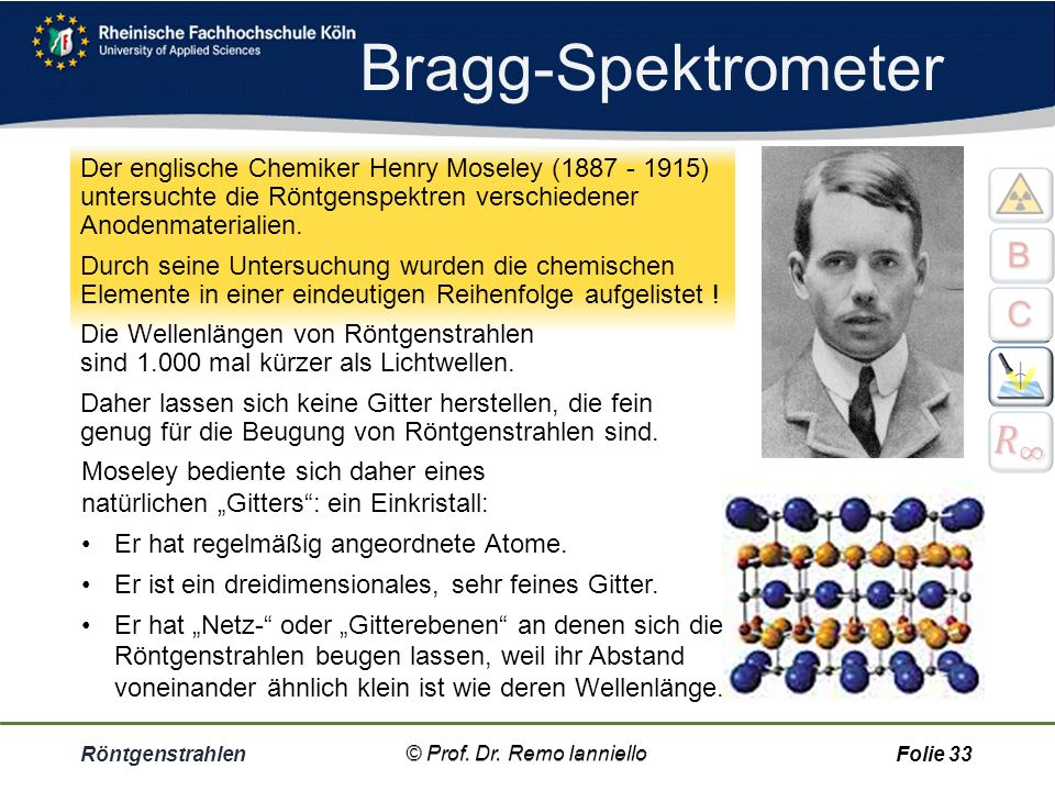 Bragg-Spektrometer 𝑅 ∞ B C