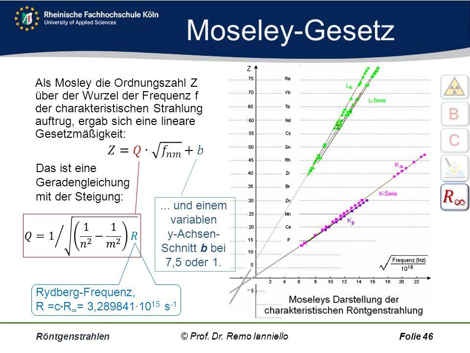 Moseley-Gesetz 𝑅 ∞ B C 𝑍=𝑄∙ 𝑓 𝑛𝑚 +𝑏