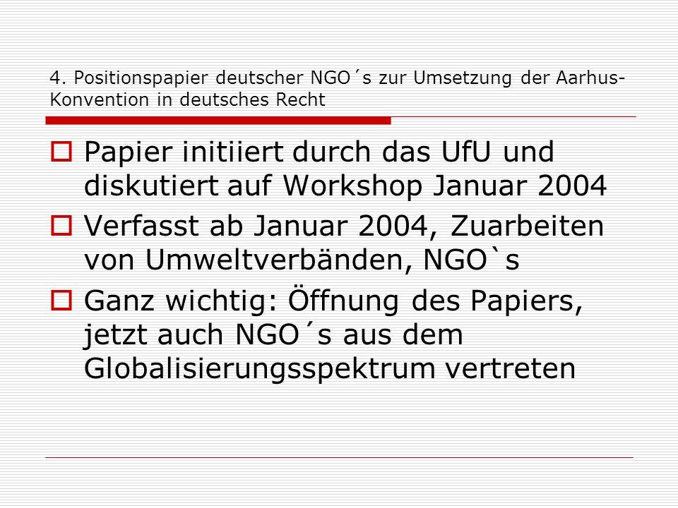 Papier initiiert durch das UfU und diskutiert auf Workshop Januar 2004
