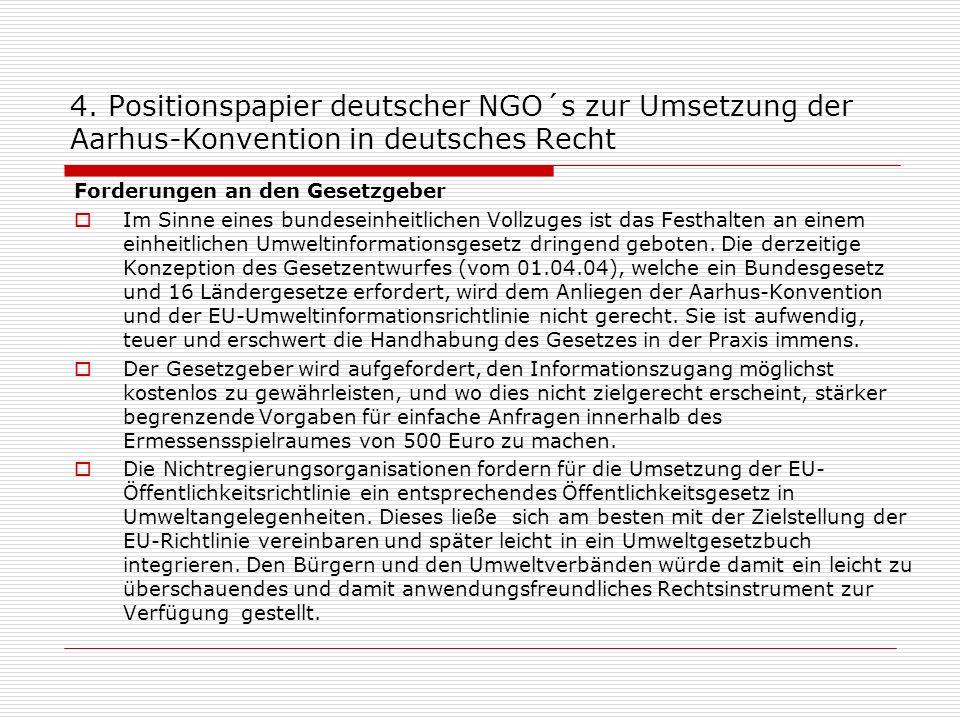 4. Positionspapier deutscher NGO´s zur Umsetzung der Aarhus-Konvention in deutsches Recht