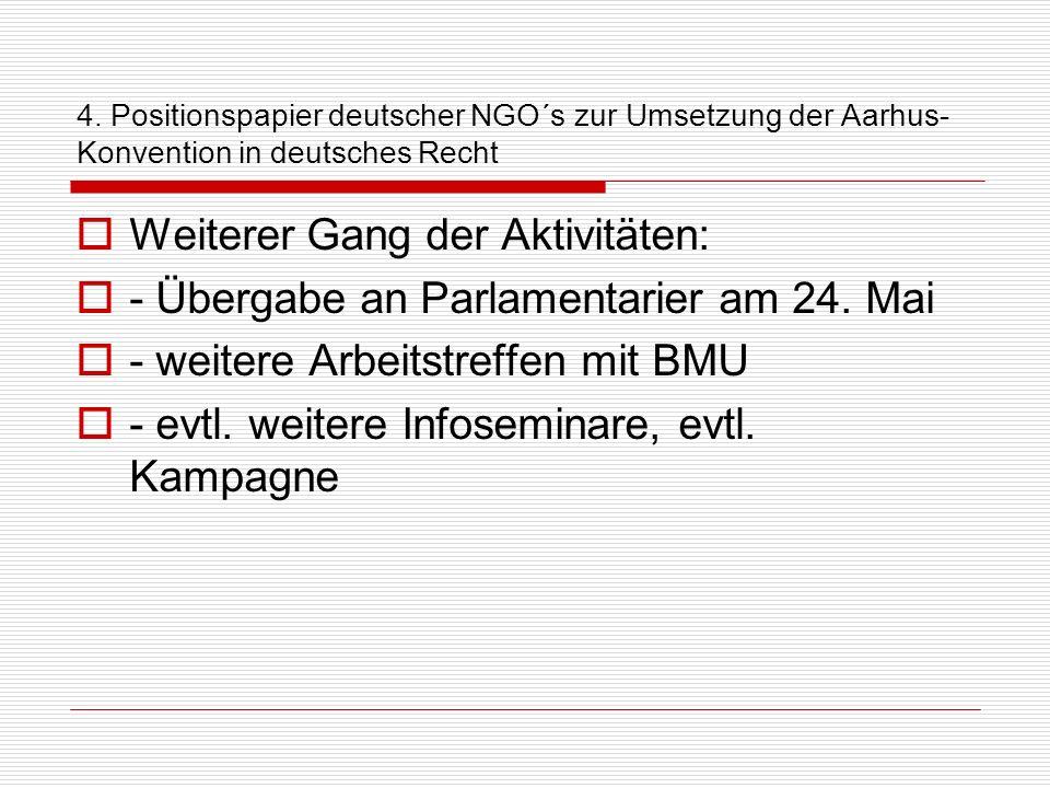 Weiterer Gang der Aktivitäten: - Übergabe an Parlamentarier am 24. Mai