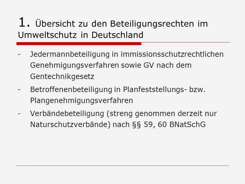 1. Übersicht zu den Beteiligungsrechten im Umweltschutz in Deutschland