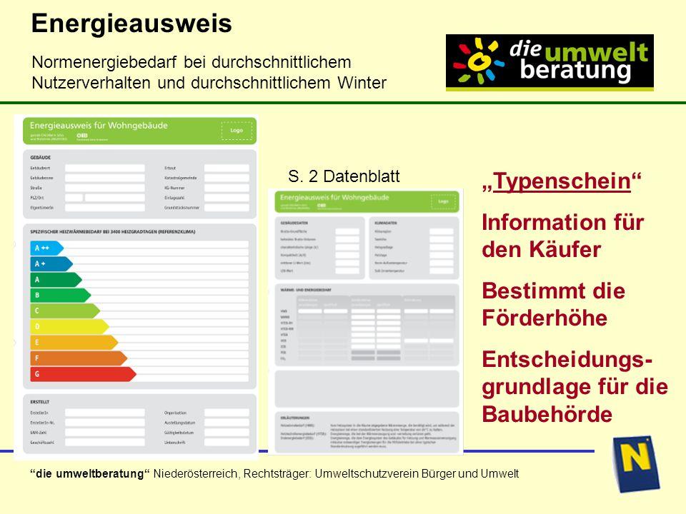 """Energieausweis """"Typenschein Information für den Käufer"""