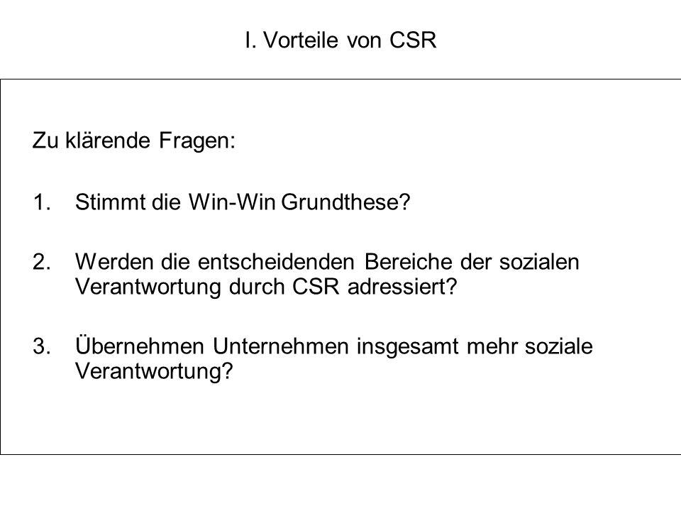Zu klärende Fragen: I. Vorteile von CSR
