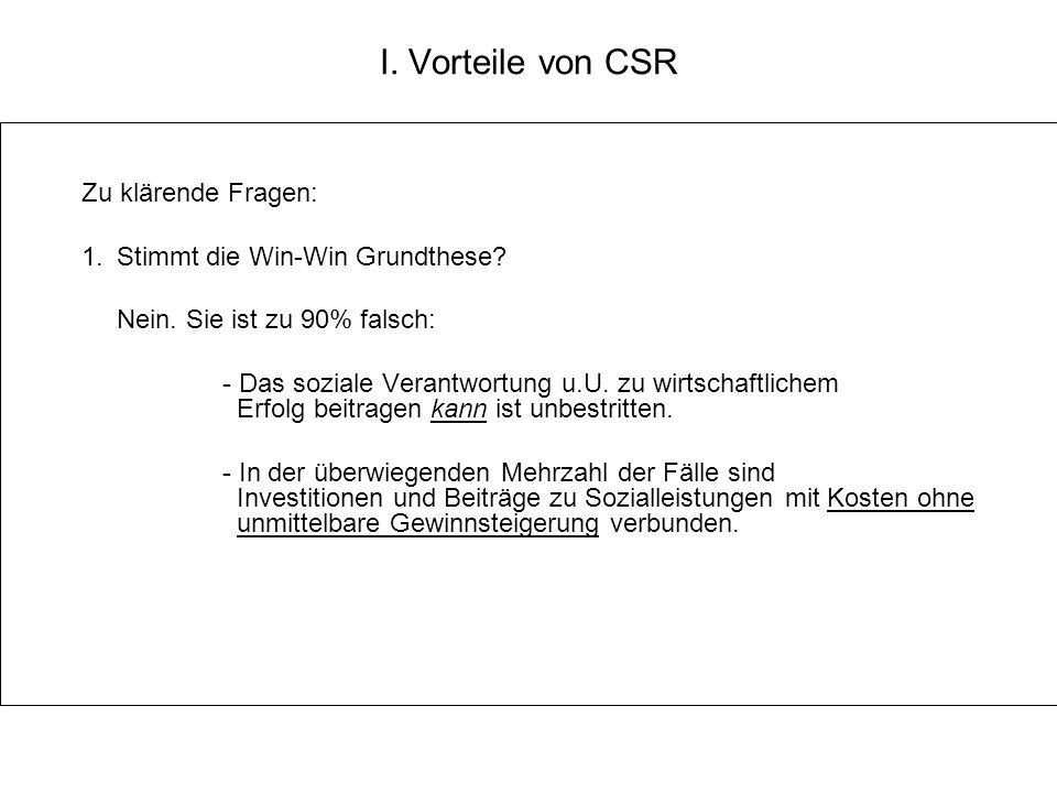 I. Vorteile von CSR Zu klärende Fragen: