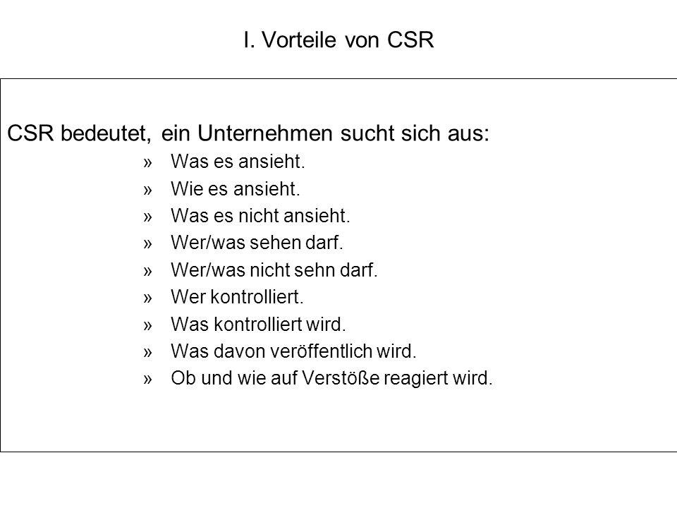 CSR bedeutet, ein Unternehmen sucht sich aus: