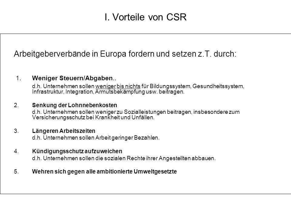 I. Vorteile von CSR Arbeitgeberverbände in Europa fordern und setzen z.T. durch: 1. Weniger Steuern/Abgaben..