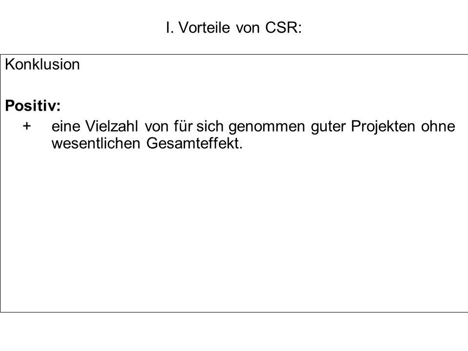 I. Vorteile von CSR: Konklusion.