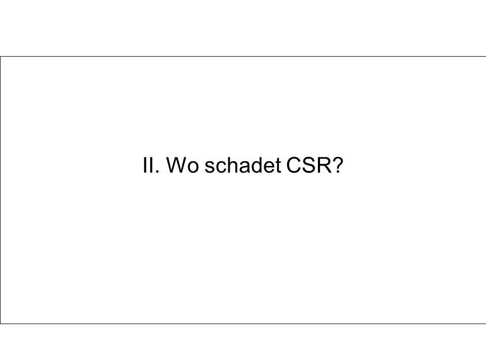 II. Wo schadet CSR