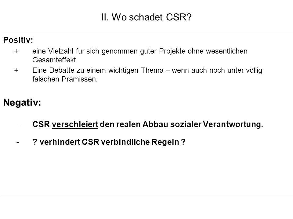 - CSR verschleiert den realen Abbau sozialer Verantwortung.