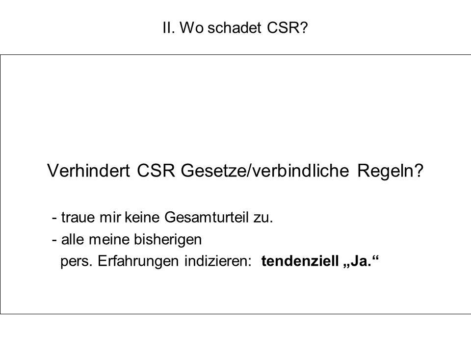 Verhindert CSR Gesetze/verbindliche Regeln