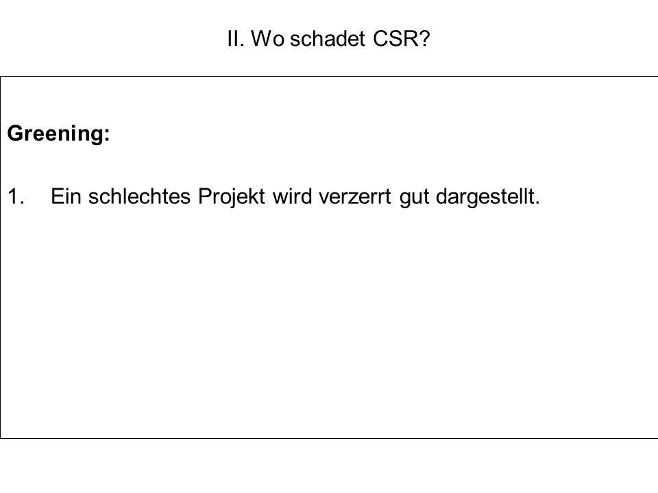 II. Wo schadet CSR Greening: Ein schlechtes Projekt wird verzerrt gut dargestellt.
