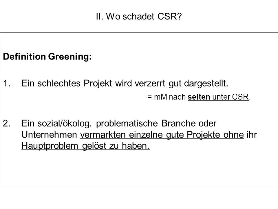 II. Wo schadet CSR Definition Greening: Ein schlechtes Projekt wird verzerrt gut dargestellt. = mM nach selten unter CSR.