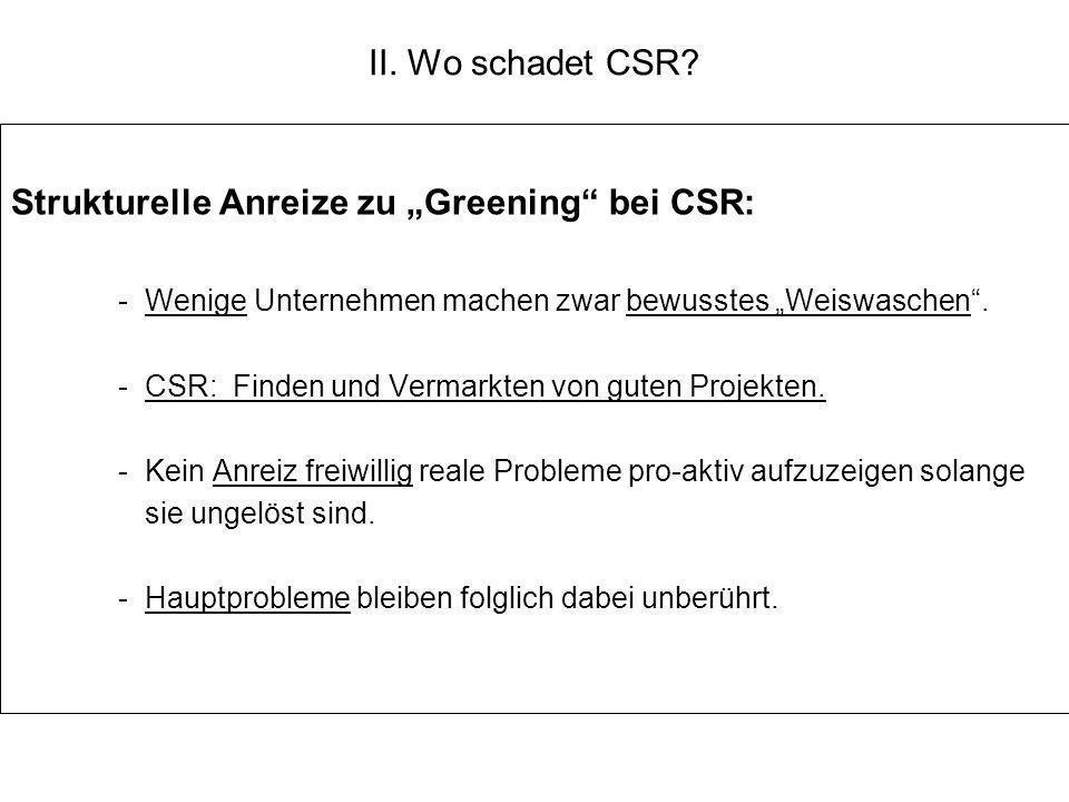 """Strukturelle Anreize zu """"Greening bei CSR:"""