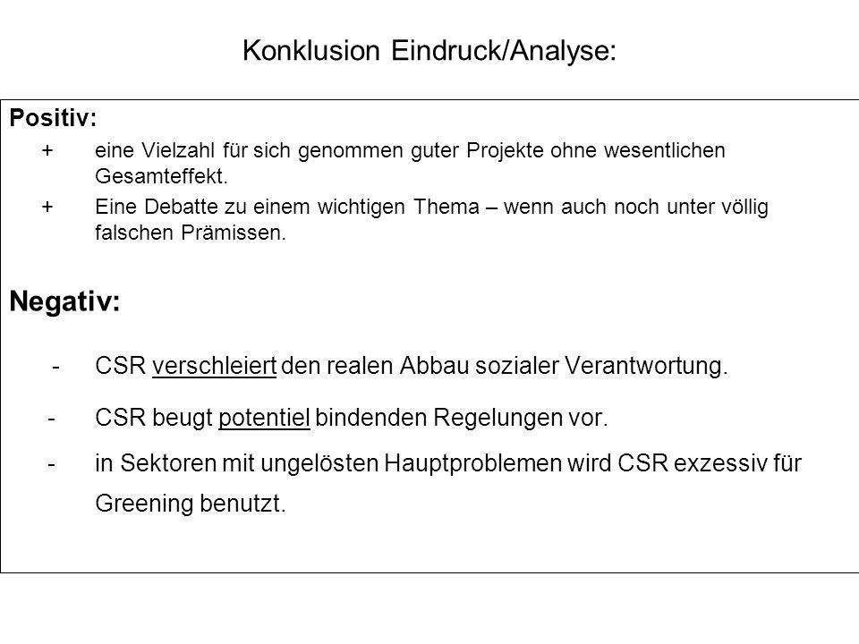 Konklusion Eindruck/Analyse: