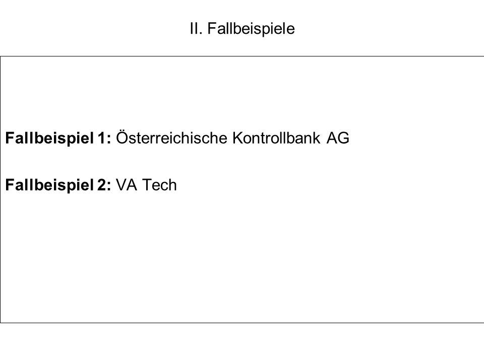 II. Fallbeispiele Fallbeispiel 1: Österreichische Kontrollbank AG Fallbeispiel 2: VA Tech