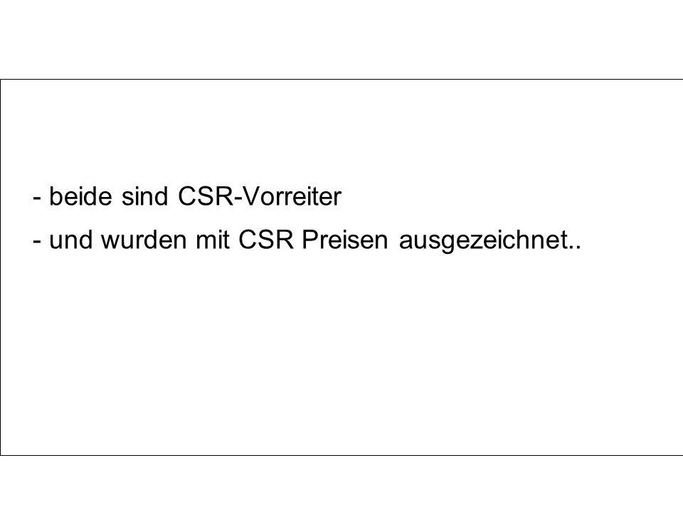 - und wurden mit CSR Preisen ausgezeichnet..