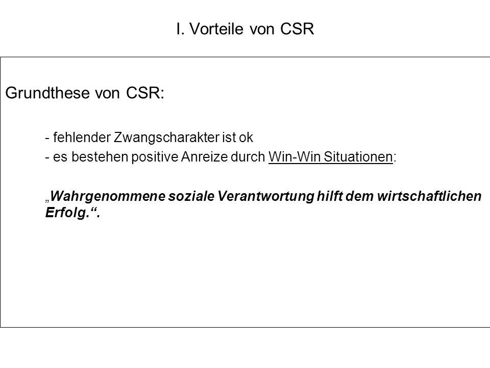 I. Vorteile von CSR Grundthese von CSR: