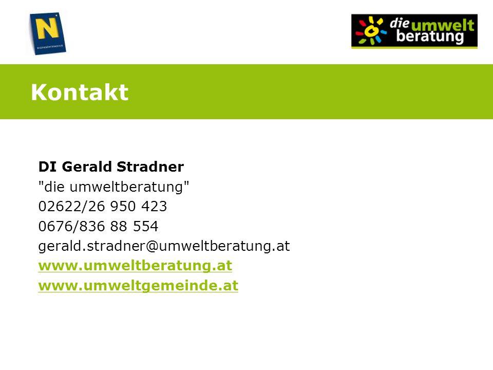 Kontakt DI Gerald Stradner die umweltberatung 02622/26 950 423