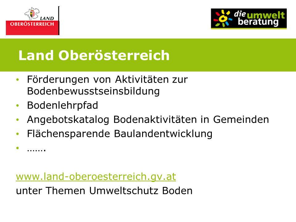 Land Oberösterreich Förderungen von Aktivitäten zur Bodenbewusstseinsbildung. Bodenlehrpfad. Angebotskatalog Bodenaktivitäten in Gemeinden.
