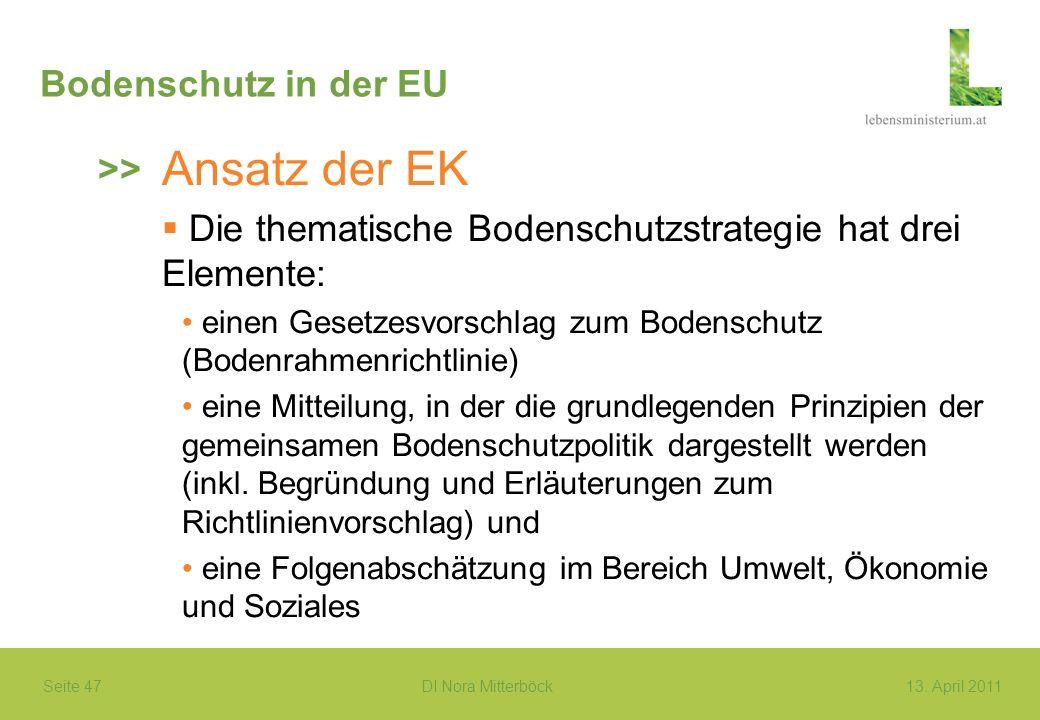 Ansatz der EK Bodenschutz in der EU >>