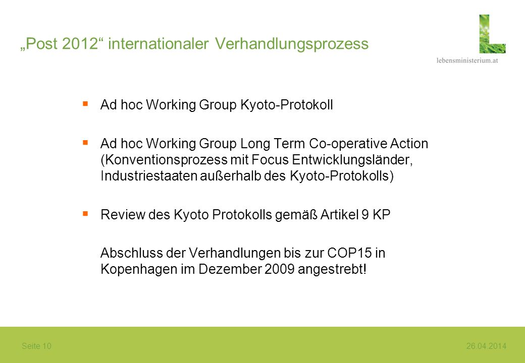 """Post 2012 internationaler Verhandlungsprozess"