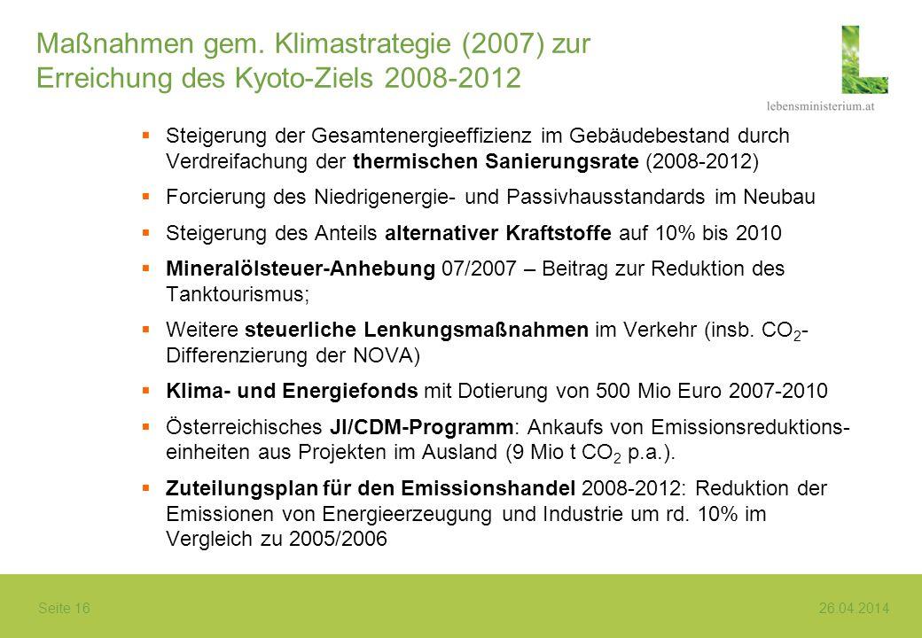 Maßnahmen gem. Klimastrategie (2007) zur Erreichung des Kyoto-Ziels 2008-2012