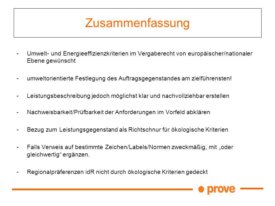 Zusammenfassung Umwelt- und Energieeffizienzkriterien im Vergaberecht von europäischer/nationaler Ebene gewünscht.