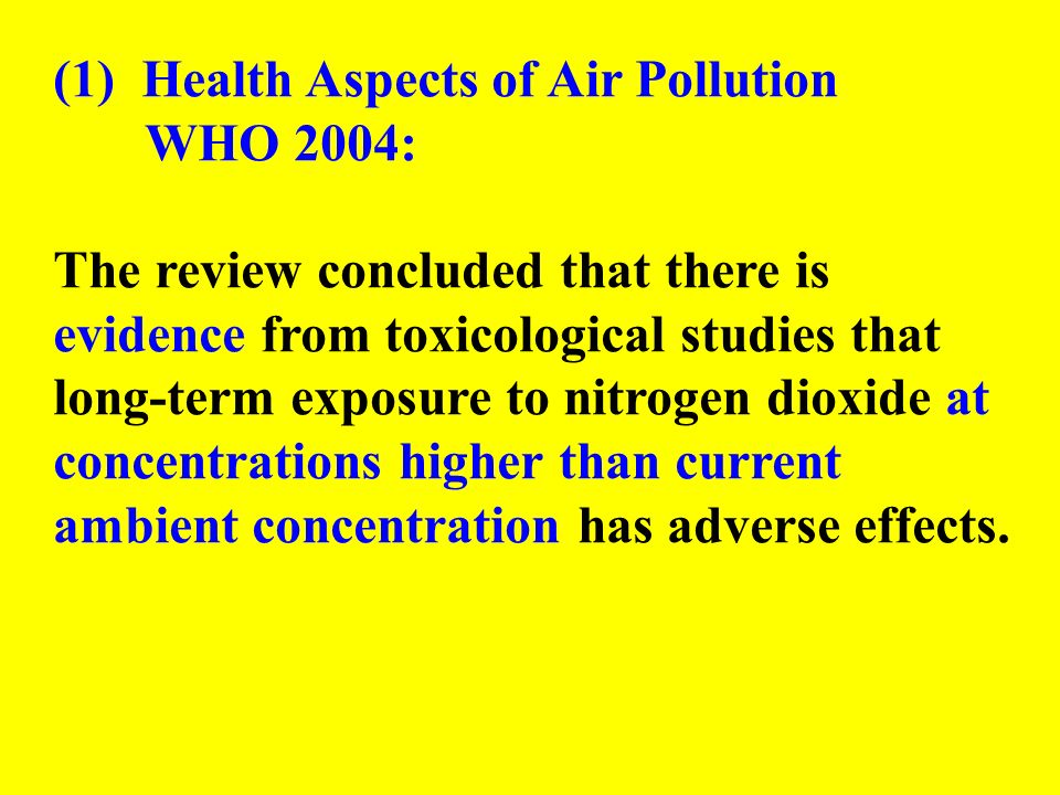 (1) Health Aspects of Air Pollution