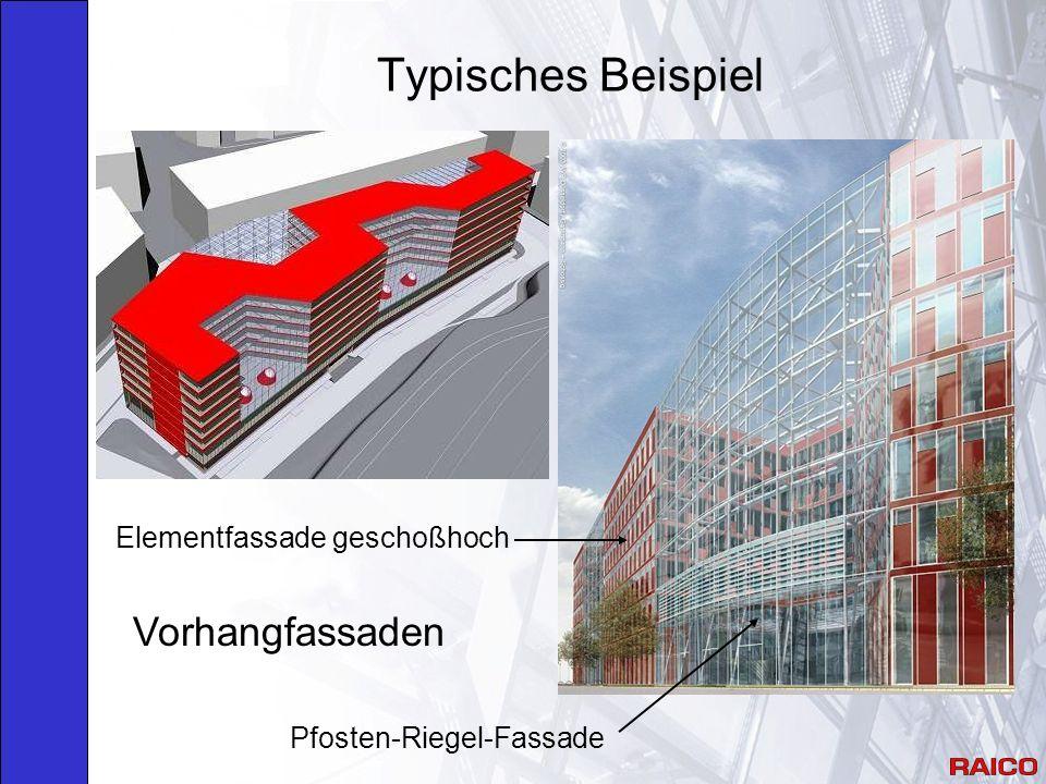 Typisches Beispiel Vorhangfassaden Elementfassade geschoßhoch