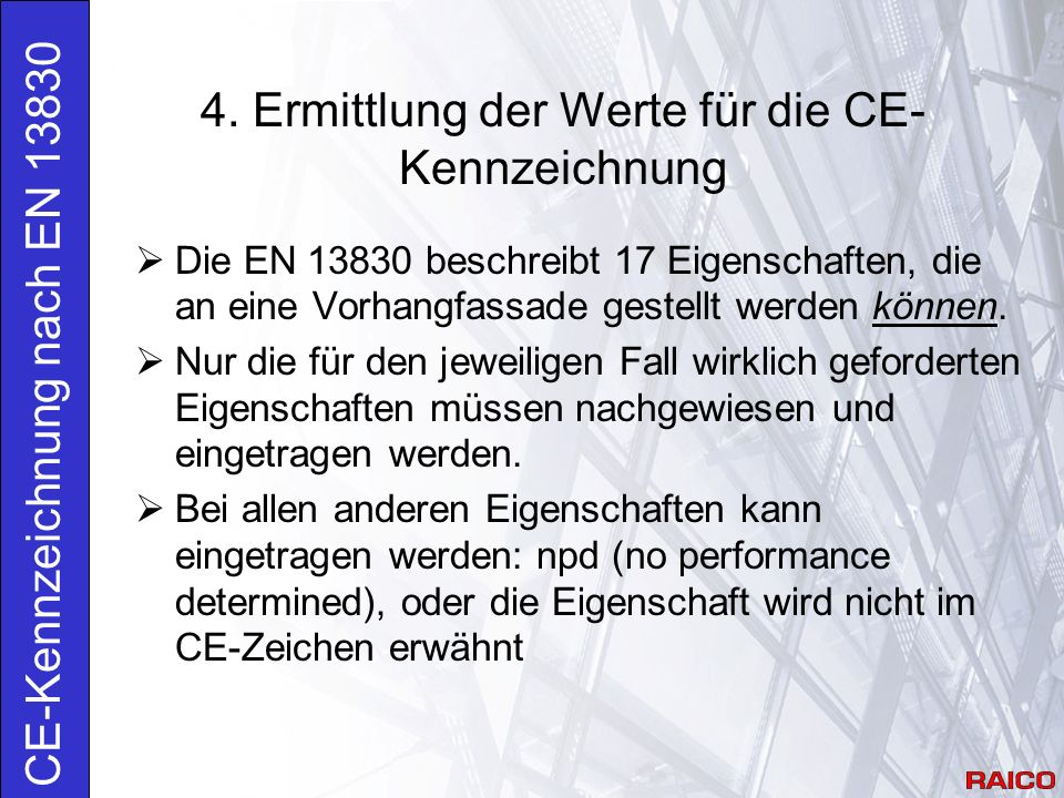 4. Ermittlung der Werte für die CE-Kennzeichnung