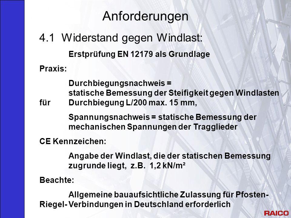 Anforderungen 4.1 Widerstand gegen Windlast: