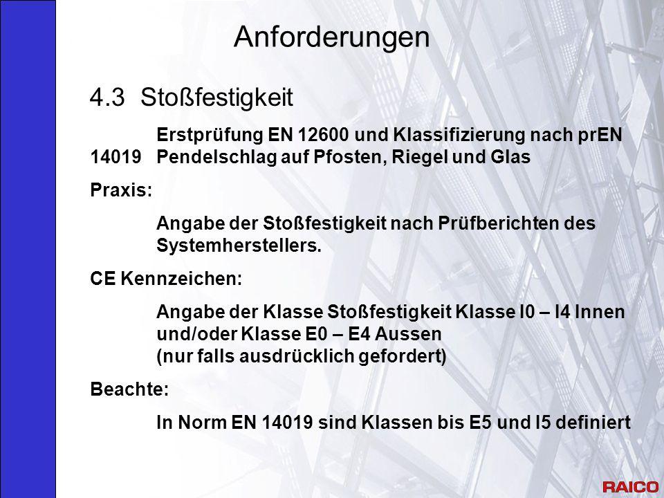 Anforderungen 4.3 Stoßfestigkeit