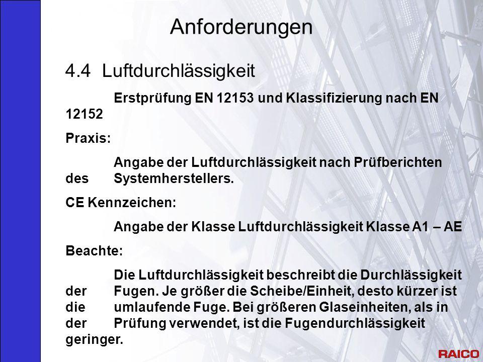 Anforderungen 4.4 Luftdurchlässigkeit