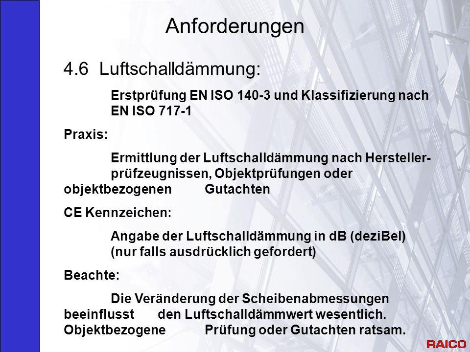 Anforderungen 4.6 Luftschalldämmung: