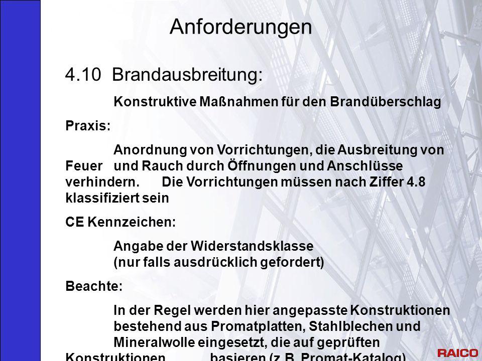 Anforderungen 4.10 Brandausbreitung:
