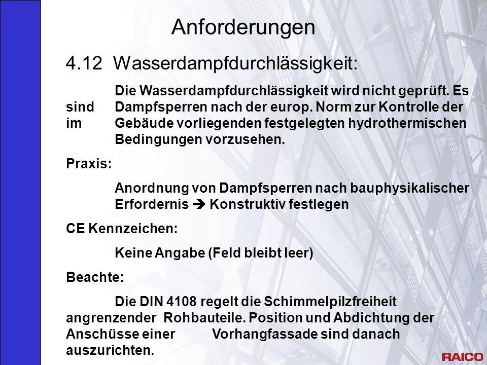 Anforderungen 4.12 Wasserdampfdurchlässigkeit: