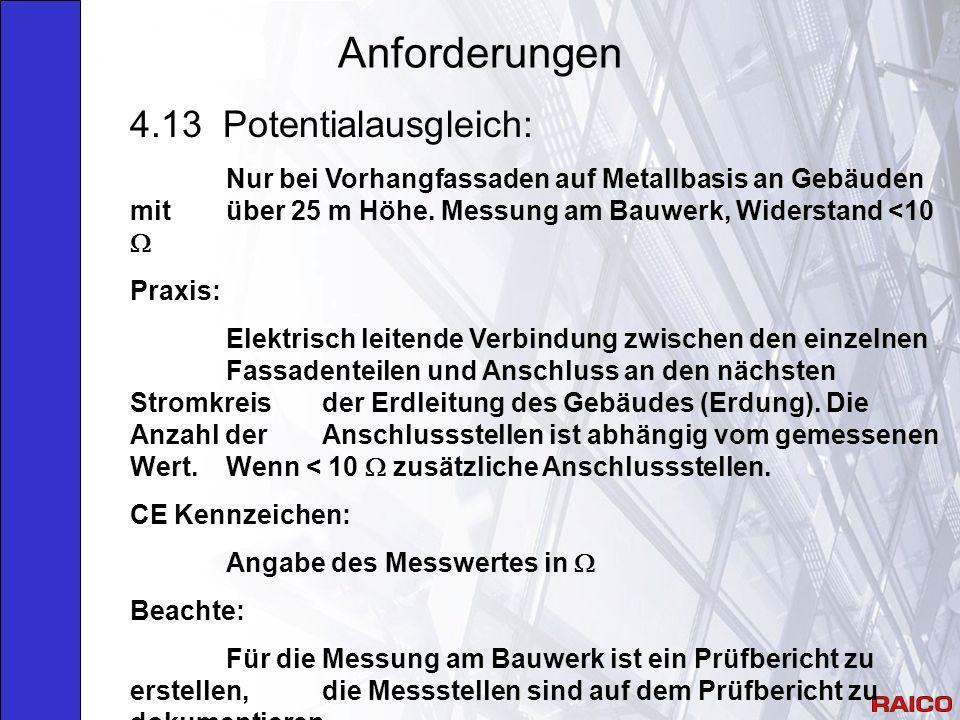 Anforderungen 4.13 Potentialausgleich: