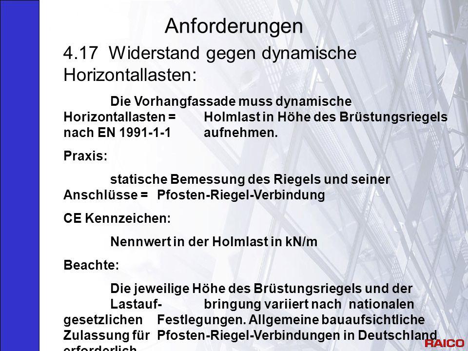 Anforderungen 4.17 Widerstand gegen dynamische Horizontallasten: