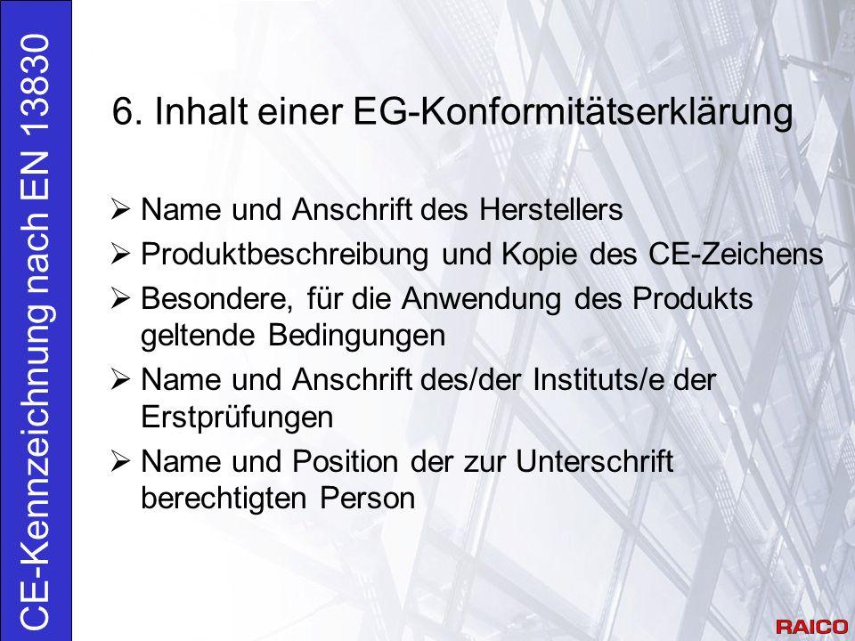 6. Inhalt einer EG-Konformitätserklärung