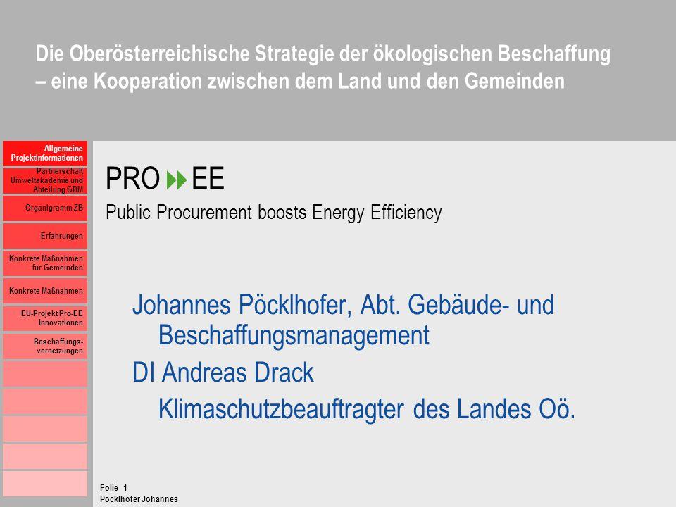 PROEE Johannes Pöcklhofer, Abt. Gebäude- und Beschaffungsmanagement