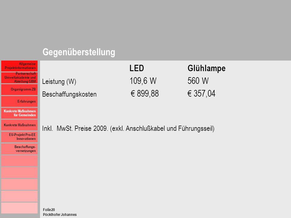 Gegenüberstellung LED Glühlampe Leistung (W) 109,6 W 560 W