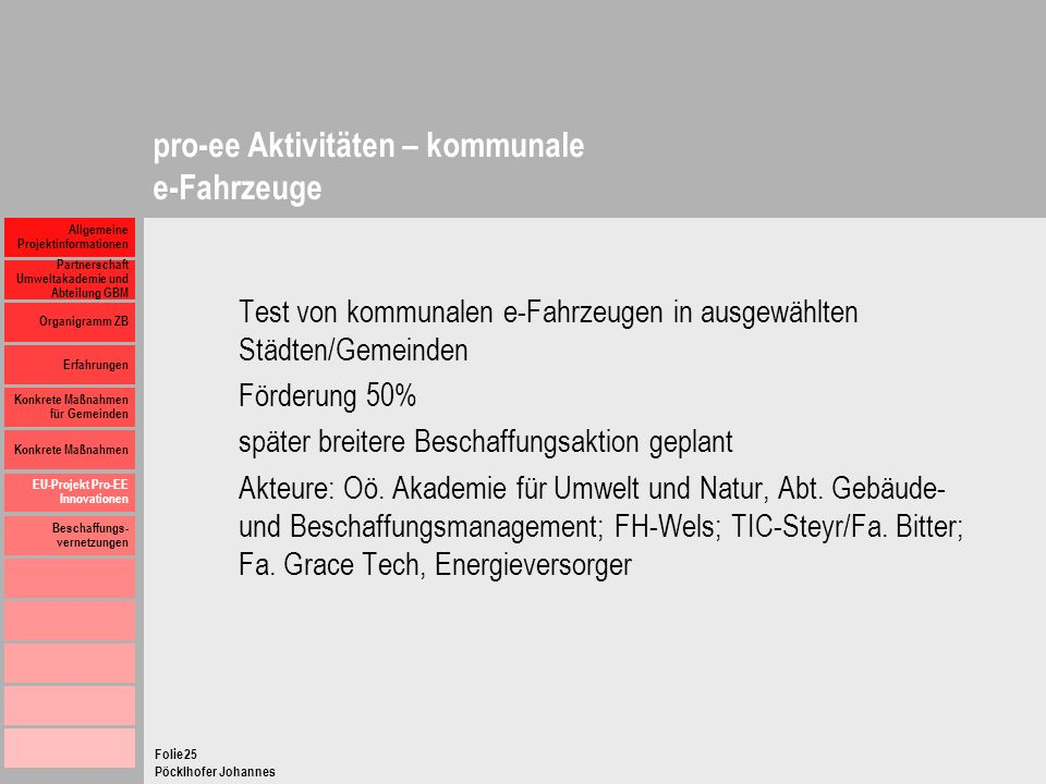 pro-ee Aktivitäten – kommunale e-Fahrzeuge