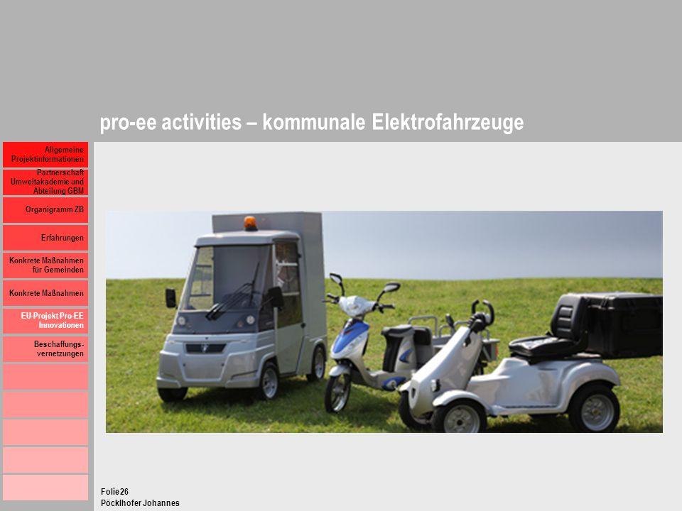 pro-ee activities – kommunale Elektrofahrzeuge