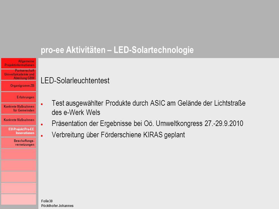 pro-ee Aktivitäten – LED-Solartechnologie