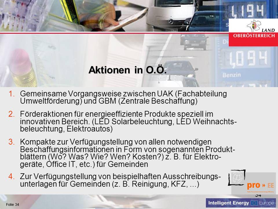 Aktionen in O.Ö. Gemeinsame Vorgangsweise zwischen UAK (Fachabteilung Umweltförderung) und GBM (Zentrale Beschaffung)