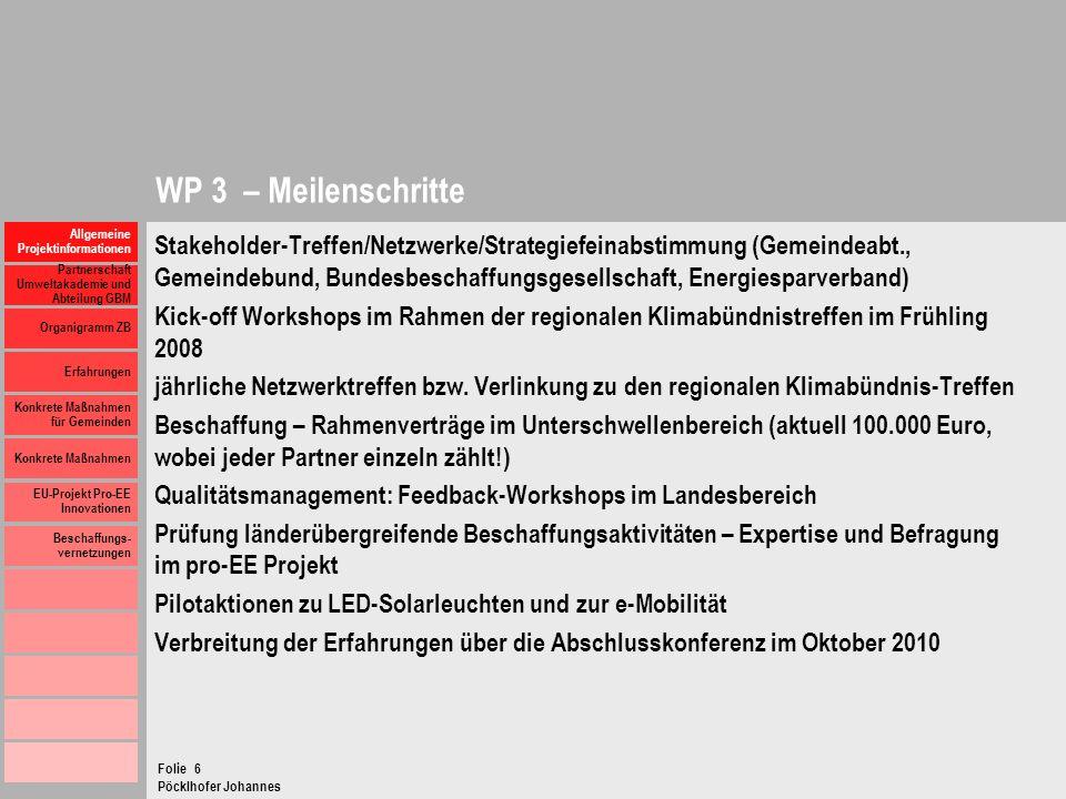 WP 3 – Meilenschritte Allgemeine Projektinformationen.