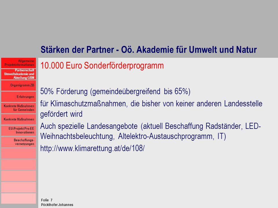 Stärken der Partner - Oö. Akademie für Umwelt und Natur