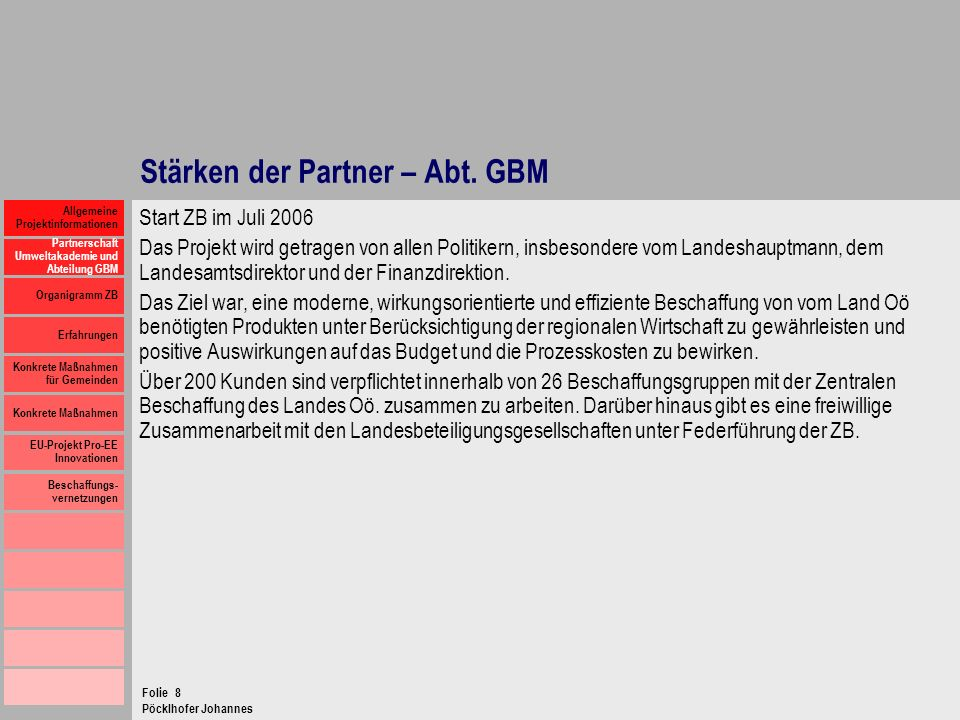 Stärken der Partner – Abt. GBM
