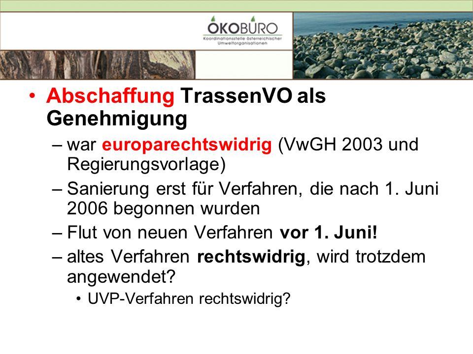 Abschaffung TrassenVO als Genehmigung
